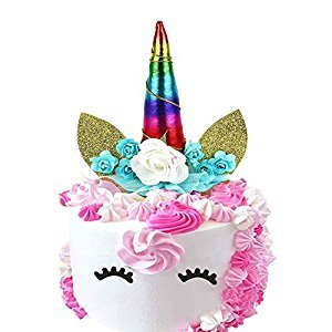 Handmade Rainbow Unicorn Birthday Cake Toppers Set,Unicorn Horn,Ears Eyelash,and Flowers Set,Unicorn Party Decoration for Baby Shower,Wedding and Birthday Party