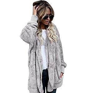 Women Jacket, Gillberry Women Hooded Long Coat Jacket Hoodies Parka Outwear Cardigan Coat (Gray, L)