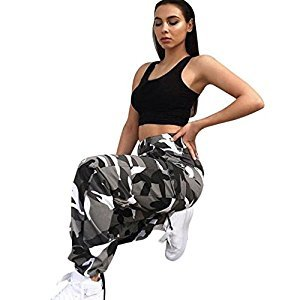 Women Leggings, Gillberry Women Sports Camo Cargo Pants Outdoor Casual Camouflage Trousers Jeans (Gray, L)
