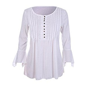 Women Tops, Gillberry Women Autumn Flare 3/4 Sleeve Slim V Neck Buttons Blouse Tops Tee Shirt (XL, White)