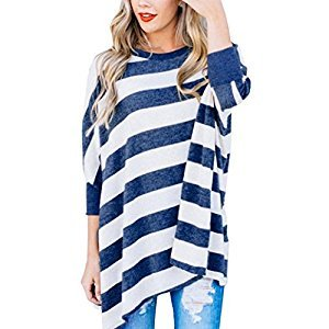 Women Tops, Gillberry Women Plus Size O-Neck Batwing Sleeve Pullover Striped Tops Blouse Shirt (Blue, S)