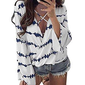 Women Tops, Gillberry Women Stripe T-Shirt V Neck Short Sleeve T-Shirts Tops Casual Slim Blouse (Blue, XL)