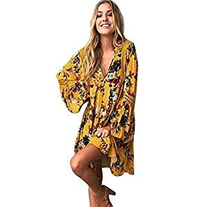 Womens Dress, Gillberry Women Boho Floral Long Maxi Evening Party Cocktail Beach Mini Dress Sundress (M, Yellow)
