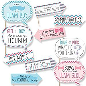 Funny Chevron Gender Reveal - Baby Shower Photo Booth Props Kit - 10 Piece