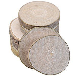 Gosear 20 PCS Mini Assorted Size Natural Color Tree Bark Wood Log Slices Round Disc Slice for Arts Crafts Home Decoration