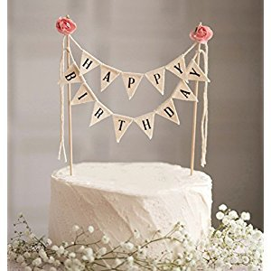 Happy Birthday Cake Bunting Topper Cake Topper Garland, Handmade Pennant Flags with Wood Pole Ivory Pink Roses