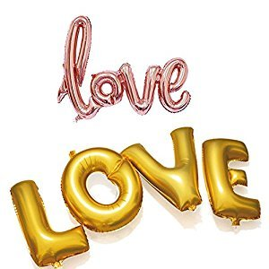 Love Balloon Banner Golden Letters - 2 Pack 30 Inch Giant Love Balloon for Romantic Wedding Bridal Shower Anniversary Engagement Party Decoration