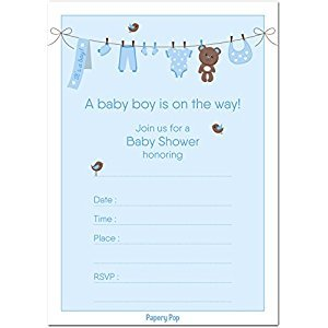 30 Baby Shower Invitations Boy (with Envelopes) - Baby Boy Shower Invite Cards - Fits Perfectly with Blue Baby Shower Decorations and Supplies for Boys