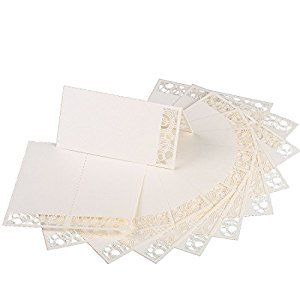 60pcs Lace Wedding Place Cards Personalised Table Name Reception Decoration with White Lace Pattern Cardstock for Wedding Favors,Party
