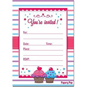 Birthday Invitations with Envelopes (15 Count) - Kids Birthday Party Invitations for Girls or Boys - Cupcake
