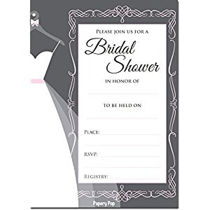 Bridal Shower Invitations with Envelopes (15 Count) - Wedding Shower Invitations - Grey