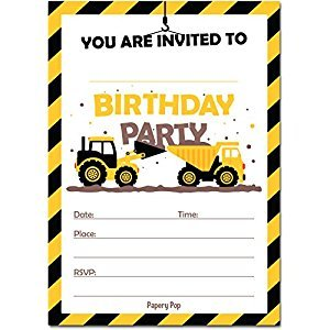 Construction Trucks Birthday Invitations with Envelopes (15 Count) - Kids Birthday Party Invitations for Boys - Tractor