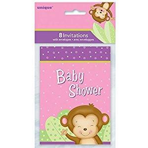 Girl Monkey Baby Shower Invitations, 8ct