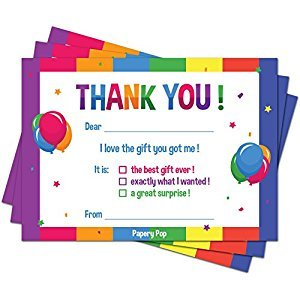 Kids Thank You Cards with Envelopes (15 Count) - Kids Birthday Thank You Notes