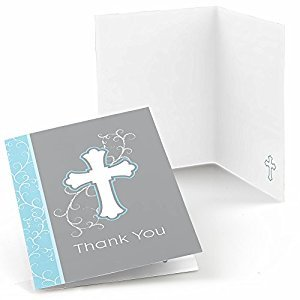 Little Miracle Boy Blue & Gray Cross - Baptism Party Thank You Cards (24 count)