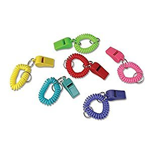 24 Colorful Spiral Bracelet and Keychain Whistles ~ 2 Dozen Fun noise making Whistles ~ Party Birthday Favors ~ Prize Fairs/ Parties /Sports Team/ Gifts Loot Bags/ Easter/