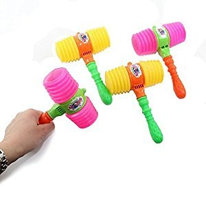 Toy Hammer Kids Party Favor Super Toy Squeaky Hammer 6.5 Inches. Pack of 4