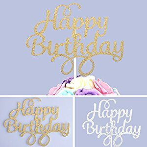 4 Pack Gold and Silver Happy Birthday Cake Topper Glitter Party Event Decorations