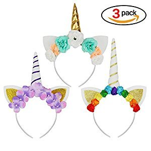 Beautyer Unicorn Horn Headbands with Glitter Ears and Flowers Set of 3pcs Gift for Girls or Birthday Christmas Party Supply Headband
