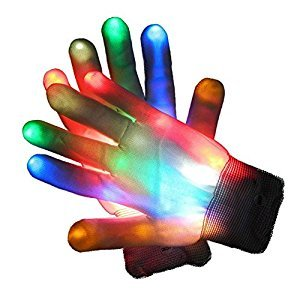 Glovion ONE Pair LED Light-Up Rainbow Gloves Colorful Flashing Light-emitting Halloween Gloves Game Party Decoration Gloves