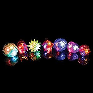 Jelly LED Ring Light Up Toys - 36 Pc Flashing LED Jelly Finger Rings Glow in the Dark Party Favors for Kids and Adults for New Years Eve (Assorted Colors)
