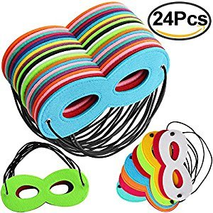 Outee 24 Pcs Superhero Masks Super Masks Super Hero Cosplay Party Eye Masks Felt Masks with Elastic Rope for Kids Party, Multicolor