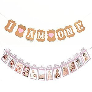 "(Set of 2)Baby Girl First Birthday Decorations Banner""I AM ONE""and 1-12 Months Photo Rope Banner,First Birthday Garland,Wedding Ceremony(Pink)"