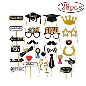 2018 Graduation Photo Booth Props Glitter Graduation Party Decorations Pack of 28