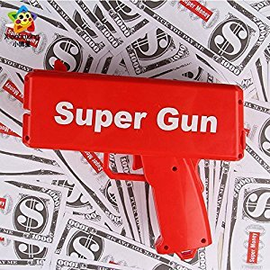 Doremy Super Money Gun Cash Cannon Gun Make It Rain Money for Outdoor Sport Spray Money Toys, Festivals, Weddings , Birthdays ,Marketing Party Game Shoot Gun, Gift, Red