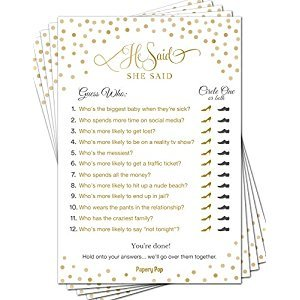 He Said She Said (50 Sheets) - Bridal Shower Games - Wedding Shower Games - Wedding Games - Bachelorette Party Games - Gold