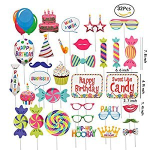 JEANSWSB 32pcs Birthday Photo Booth Props - Holiday Photo Frame Funny Ornaments Party Favors & Supplies