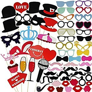 JPSOR Photo Booth Props 75 Pcs Photo Props DIY Kit for Wedding Birthday Graduation Party Props Dress-up Accessories Party Favors Photo Props