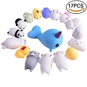 16 Pcs Mochi Kawaii Squishies Stress Relief Animal Toys Squeeze Toys Squishy Cats Mochi Seal Stress Relief Animals with Jumbo Blue Whale Cartoon Squeeze Seals Healing Toys for Stress Reliever ADHD, Anxiety(17PC)