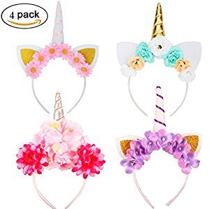 Baby Unicorn Horn 4 Packs of Headbands Birthday Halloween Christmas Cosplay Party Hat Headband with Glitter Ears and Flowers Set.