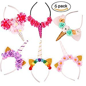 Baby Unicorn Horn 6 Packs of Headbands Birthday Halloween Christmas Cosplay Party Hat Headband with Glitter Ears and Flowers Set.