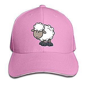 Baseball Cap Hand-drawn Cartoon Sheep Unisex Sporting Cotton Cap Adjustable Plain Hat Sun Outdoor Snapback Hat Pink
