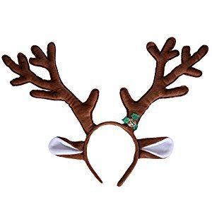 HDE Reindeer Antlers Headband with Ears and Bell Christmas Themed Holiday Wear
