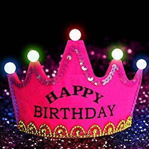 LED Birthday Crowns (3 Modes) - Mifanstech Kids Adults Party Light Up Flashing Tiara Craft LED Hat For Holiday Festival Performance Decoration - Rose