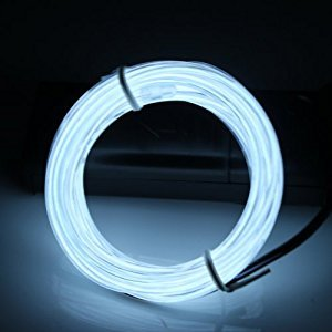 Lerway 3 meter/ 9.84 feet Rope Neon Flexible Light Strip El Wire Cable DIY Multicolor Cosplay Party Decoration (White)