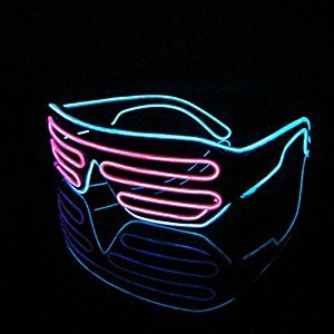 Lerway Black Frame Neon El Wire LED Light Up Shutter Glasses Two Colors+ Standard Controller (Pink + Light Blue)