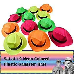 Neon Colored Plastic Gangster Hats 12 Hats for Costume, Photo Booth, Carnival and Birthday Party
