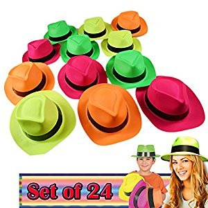 Neon Colored Plastic Gangster Hats Fits Older Teen Kids and Adults Pack of 24 Party Photo Booth Prop