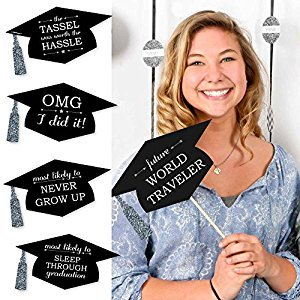 Silver - Hilarious Graduation Caps - Graduation Photo Booth Props Kit - 20 Count