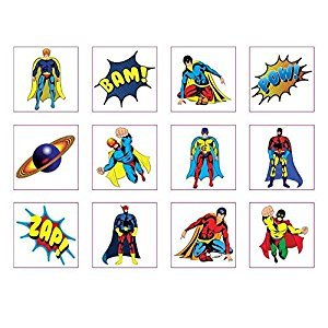 12 Pack of Super Hero Temporary - Removable Tattoos - Party Loot Bag Fillers Boys-- Superhero Theme -Marvel Super Heroes Party Loot Bags