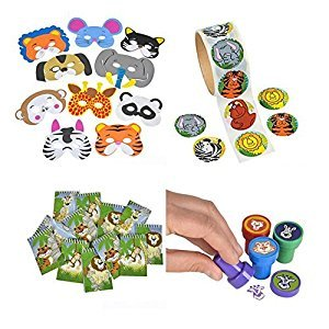 Animal Party Toy Kit, Features 24 Foam Animal Masks, 24 Animal Stampers, 100 Animal Stickers, and 12 notebooks. Great for Animal, Zoo, and Safari Themed Parties!