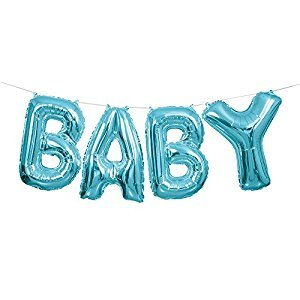 Foil Blue Baby Letter Balloon Banner Kit