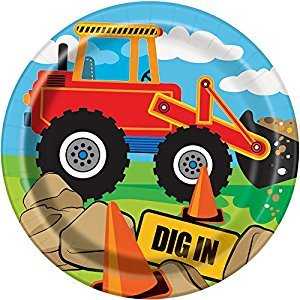Construction Truck Birthday Dessert Plates, 8ct