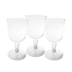 Party Essentials Hard Plastic Two Piece 5.5-Ounce Wine Glasses, 100-Count, Clear