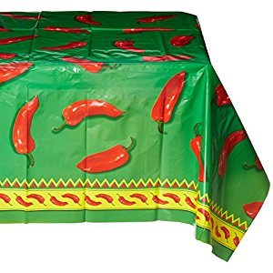 Beistle 57301 Chili Pepper Tablecover, 54-Inch X 108-Inch, Green/Red/Yellow