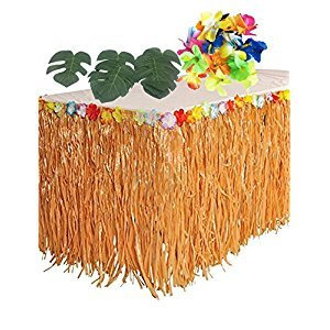 BOSHENG Hawaiian Party Decorations. 1 Beige Grass Table Skirt + 24 Hibiscus Flowers + 12 Tropical Leaves. Hula, Luau, Maui, Moana Themed Birthday Party Supplies